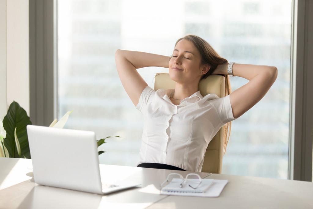 woman at work at ease